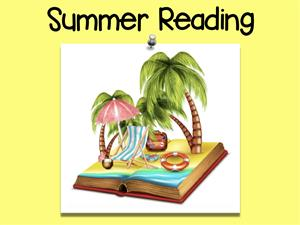 The words Summer Reading are above a picture of a book with palm trees and beach items.
