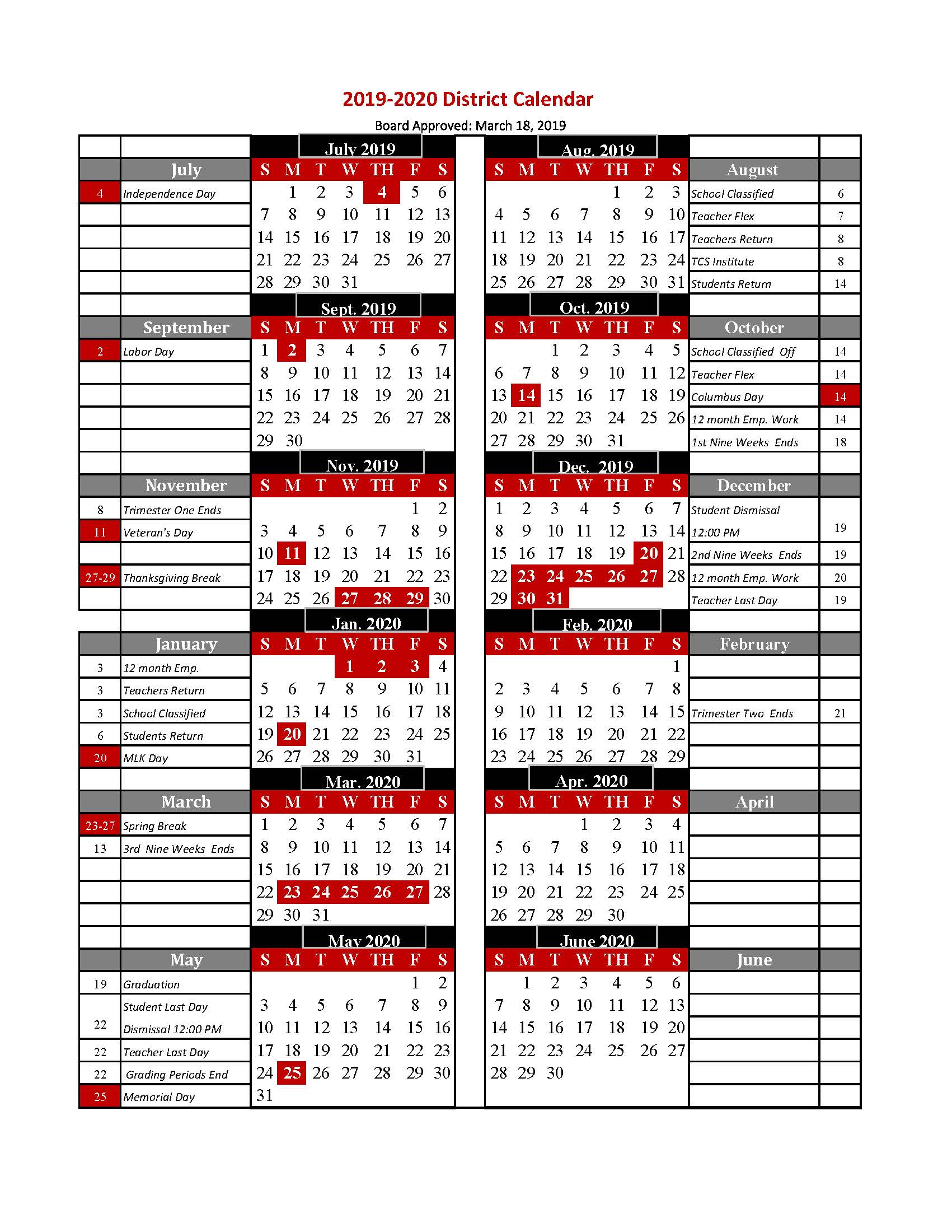 TCS calendar image with student holidays in red. Specific dates for TCS appear below in text format.